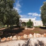 Villa exterior with olive trees