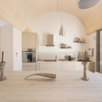 With distinctive arched ceiling with contemporary kitchen