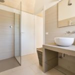With walk-in shower and modern fittings