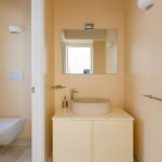 A pale yellow bathroom vestibule with stylish sink
