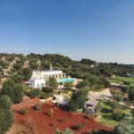 Stunning aerial view of the property perched in succulent olive groves
