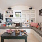 The large corner sofa with flatscreen living room TV