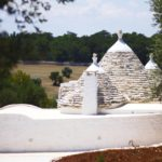 The classic trullo accommodation with white, conical roofs