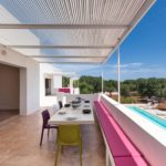 Both terraces overlook the pool and have great views across the countryside