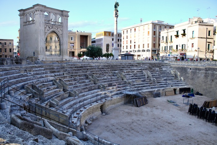 Image of Roman amphitheatre at Lecce, one of many things to do and see in Puglia with Villa Rentals Puglia