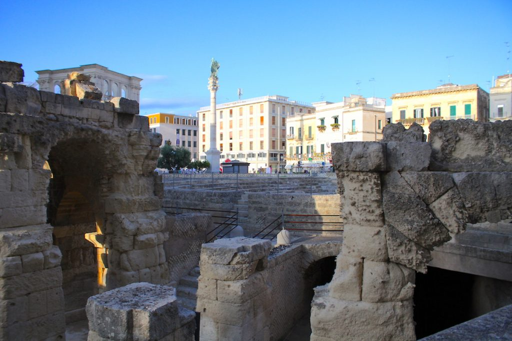 The impressive Roman amphitheatre at Lecce, part of your 36 hours in Puglia